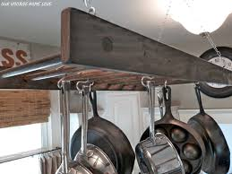 kitchen accessories aged wooden ladder ceiling mounted pot rack