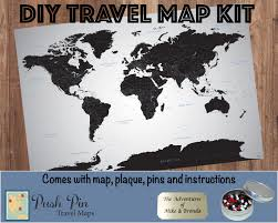 World Map Poster With Pins by Diy Black Ice World Push Pin Travel Map Kit With 100 Pins