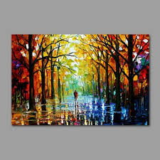 Paint Colorful - hand painted colorful tree lined trail oil painting 3 52 online