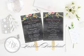 Chalkboard Wedding Program Template Watercolour Floral Boho Design On Chalkboard Background
