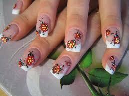 free hand ladybug nail art white tip french manicure nails you