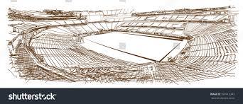 sketch football stadium sketch vector illustration stock vector