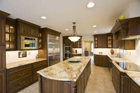 L Shaped Kitchen Island Ideas Granite Countertop Blue Stained Kitchen Cabinets Granite