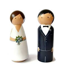 personalized bride and groom wooden peg doll wedding cake topper