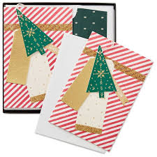 candy cane stripes with ornament christmas cards box of 8 boxed