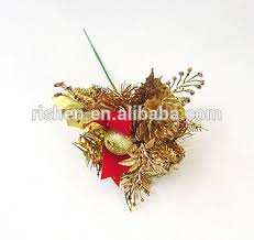 christmas picks yiwu market small christmas picks with gold pine cone decoration