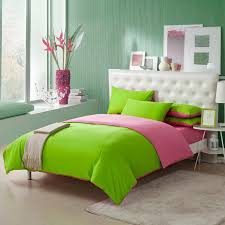 Green Bed Sets Lime Green And Pink Solid Color Simply Shabby Chic