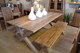 reclaimed wood dining table and bench set bench decoration