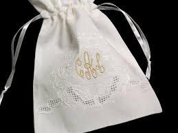 Monogramed Jewelry Irish Linen Jewelry Bag Personalized Gift Bag Monogrammed
