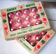 vintage shiny brite pastel pink glass tree ornaments american