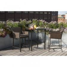 3 Piece Bar Height Patio Set Bar Height Bistro Table And Chairs Foter