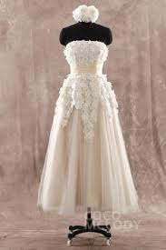 Modern Vintage Inspired Wedding Dresses Lb Studio By Cocomelody Cute A Line Champagne Strapless Natural Ankle Length Tulle