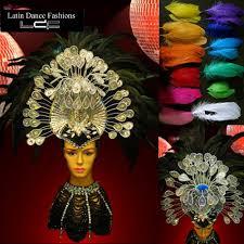 carnival crystal black raven feathered headdress mardi gras