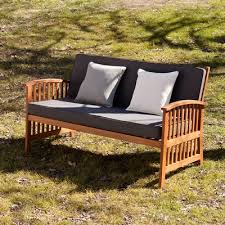 Garden Bench With Cushion Summerton Teak Loveseat With Cushions U0026 Reviews Birch Lane
