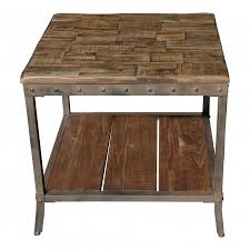 Square Accent Table Solid Wood And Iron Rustic Industrial Square Accent Table