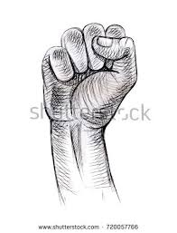 hand clenched into fist gesture strength stock vector 720057766