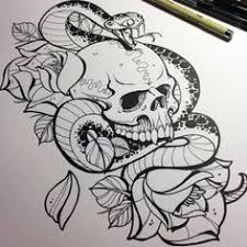 skull rose snake skulls pinterest snake tattoo and tatting