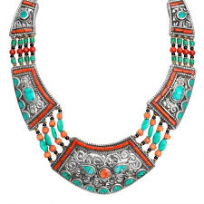 turquoise coloured necklace images Amazing large himalayan turquoise and coral nepal statement jpg