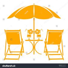 Beach Umbrella And Chair Vector Beach Umbrella Deck Chairs Summer Stock Vector 553818379