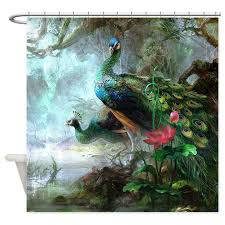 beautiful peacock painting shower curtain by bestshowercurtains