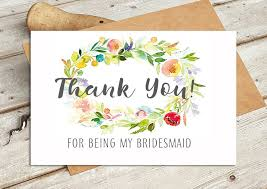 thank you bridesmaid cards thank you for being my bridesmaid watercolour wedding card