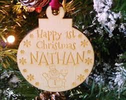 Personalised Baby S First Christmas Wooden Tree Decoration baby christmas etsy