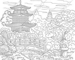 asian coloring book etsy