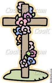 cross with flowers vector clip