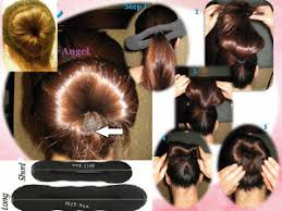 hair bun maker instructiins 2x black long short hair band curler wand donut tool sponge foam