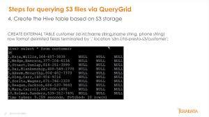 Teradata Create Table Teradata Querygrid Accessing S3 Files Youtube