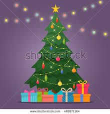 christmas tree with lights decorated christmas tree gift boxes stock vector 489971164