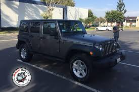 blue grey jeep jeep wrangler rubicon wrapped in matte gray wrap wrap bullys