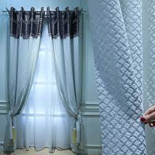 White And Blue Curtains Shabby Chic White And Silver Plaid Custom Chenille Window Curtains