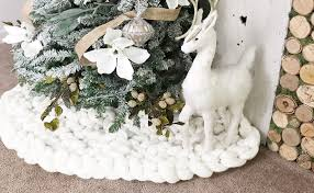36 white chunky knit tree skirt decorations