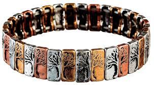 multi metal bracelet images Multi metal silver half n half tree bracelet thebraceletshoppe jpg