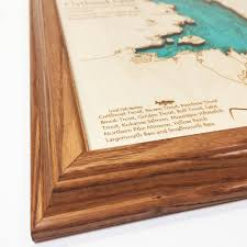 flathead lake mt single depth nautical wood chart 8 x 10 on