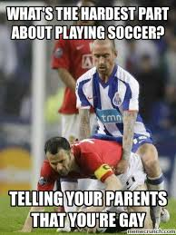 Soccer Player Meme - the hardest part about playing soccer