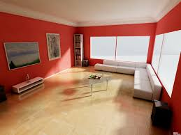 red wall paint decoration in modern home living room design ideas