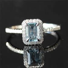aquamarine and diamond ring 14k white gold 5x7mm emerald cut aquamarine ring micro
