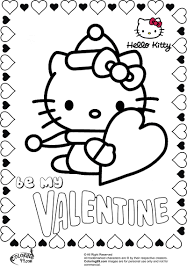 valentine hello kitty free coloring pages on art coloring pages