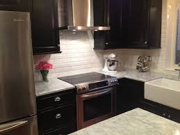 toronto white beveled subway tile backsplash kitchen traditional