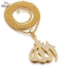 pendant necklace chain length images Copper men gold iced out muslim allah pendant necklace hiphop 70cm jpg