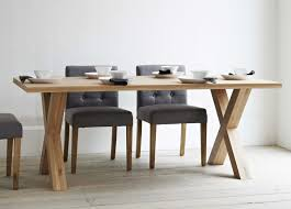 Modern Glass Kitchen Tables by Rectangle Brown Oak Dining Table With Double X Bases On White