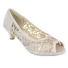 aarz women evening courts shoes low heel diamante sandals party