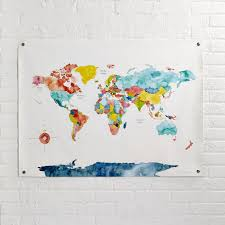 World Map Duvet Cover by Wander Wonder World Banner The Land Of Nod