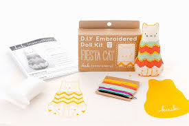 create your own animal doll with these diy embroidery kits