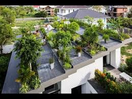 modern house design with large hanging garden on the roof in nha