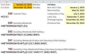 business days caclulations in excel with networkdays function