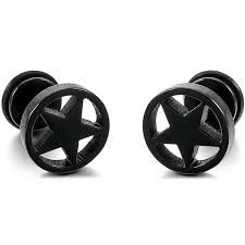spacer earrings 9mm stainless steel ear stud earrings black pentacle faux