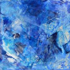 blue abstract square painting blue shades modern wall art by